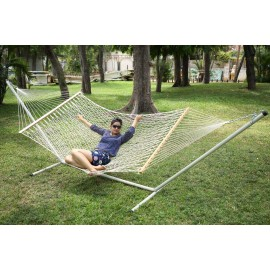 OUTDOOR UV RESISTANT ROPE HAMMOCK WITH STEEL HAMMOCK STAND, WEIGHT CAPACITY OF 125 KG, ALL IN ONE SET