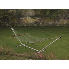 OUTDOOR UV RESISTANT GREEN ROPE HAMMOCK WITH STEEL HAMMOCK STAND, WEIGHT CAPACITY OF 125 KG, ALL IN ONE SET