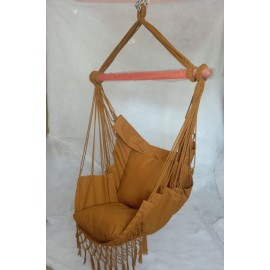 Hangit Macrame Swing chair with deco fringes and cushions, Single adult use for 115 kg weight capacity, Brown color