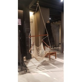 Hangit Premium Rope Chair Hammock for Garden Home Indoor Living, Natural 100cm Wide X 150cm Height, Single adult use, with arm rest and spreader bar, weight capacity of 115 kg