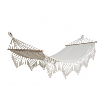 Hangit Natural Sling Hammock with decorative fringes and spreader bars, 115 kg weight capacity (Single person use, 90W X 335L cm Long)