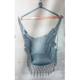 Hangit Macrame Swing chair with deco fringes and cushions, Single adult use for 115 kg weight capacity, Grey Mirage