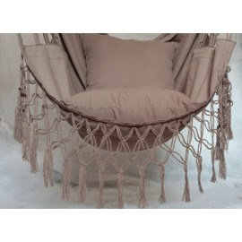 Hangit Macrame Swing chair with deco fringes and cushions, Single adult use for 115 kg weight capacity, Walnut color