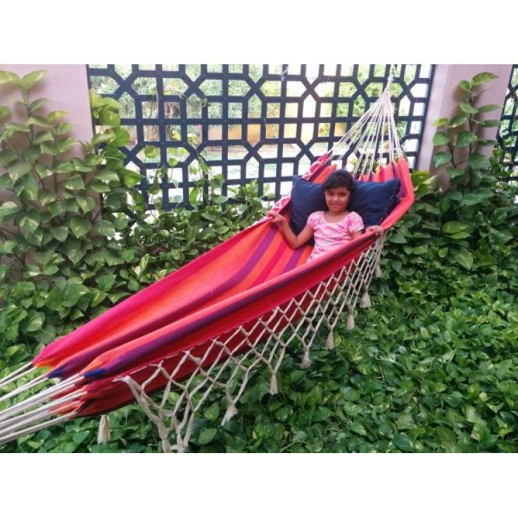 sunset striped brazilian fabric hammock with natural fringes hangit co in   best buy online hammock swing shopping outdoor      rh   hangit co in