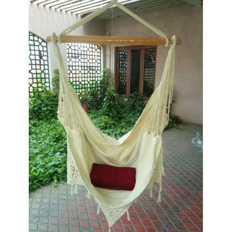 Charming ... Buy Fabric Garden Hammock Chair Swing With Hand Made Crochet Online In  India
