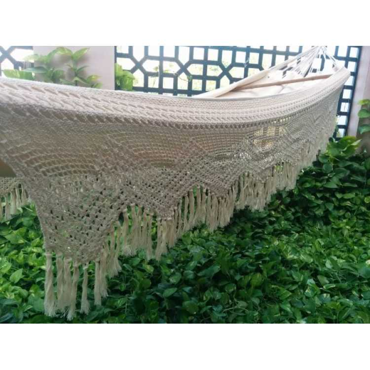 double size natural fabric mexican hammock with crochet   buy online     hangit co in   best buy online hammock swing shopping outdoor      rh   hangit co in