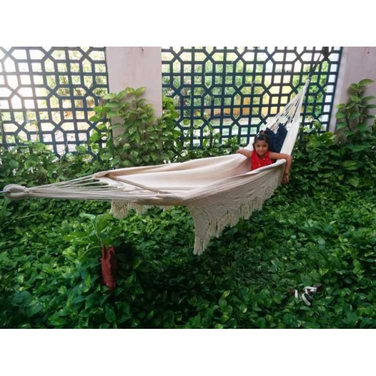 natural south american canvas hammock with crochet   single person     hangit co in   best buy online hammock swing shopping outdoor      rh   hangit co in