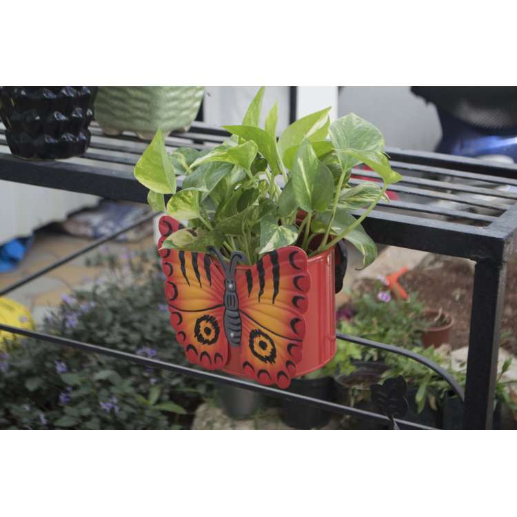 Plant Pots Online India Part - 34: Balcony Railing / Window Railing Metal Planter With Butterfly Design - Buy  Online In India