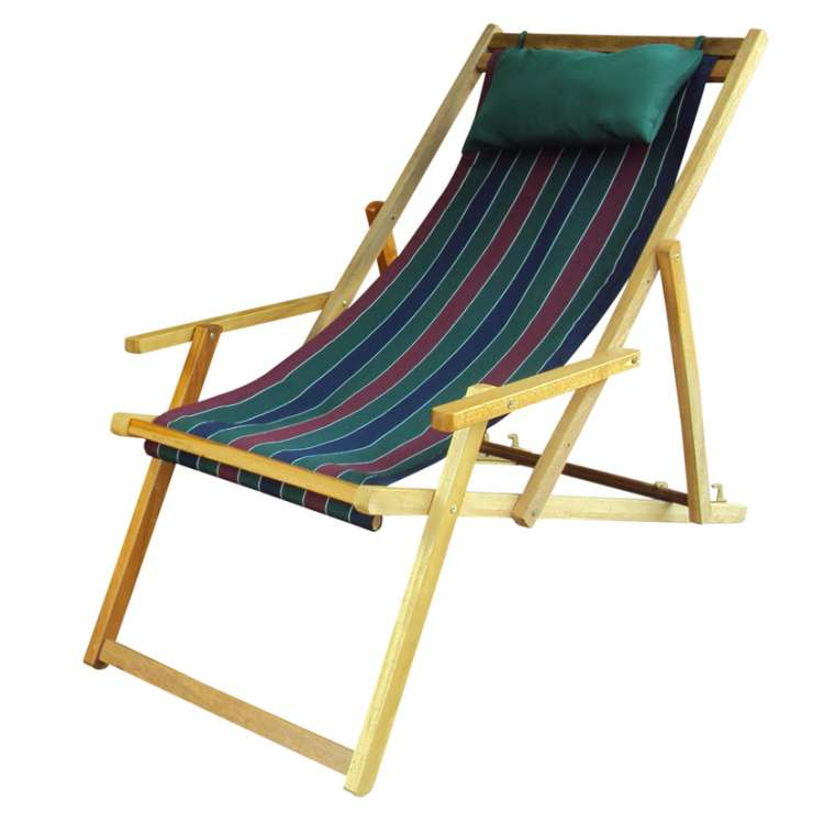 buy wooden garden chair furniture online in delhi with arm rest pillow tricolor stripe