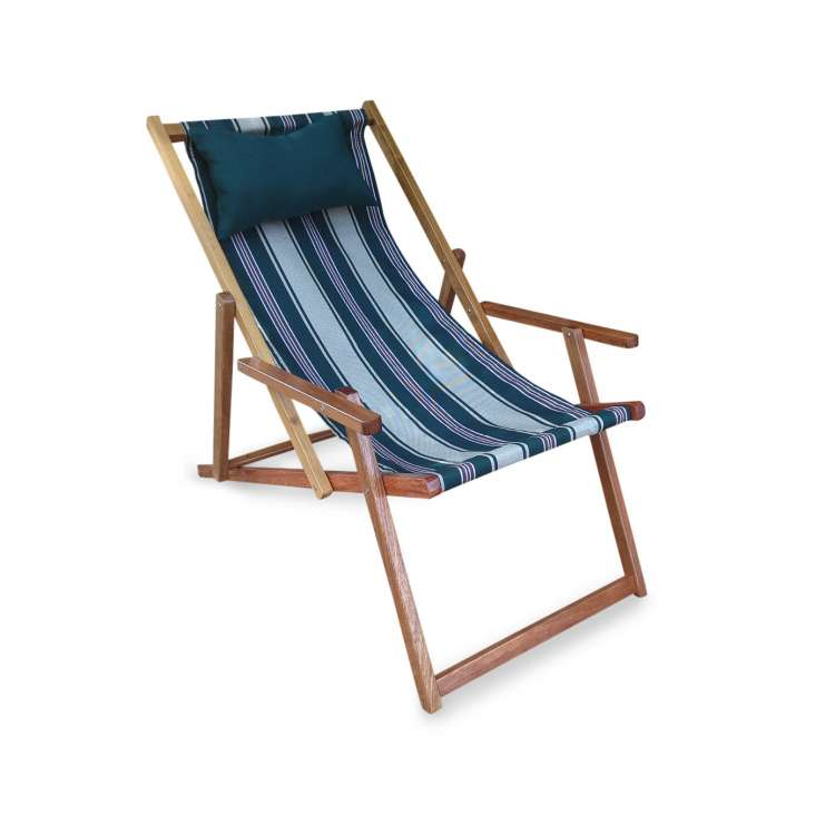 Wooden Deck Chair With Arm Rest U0026 Pillow   Emerald Stripes