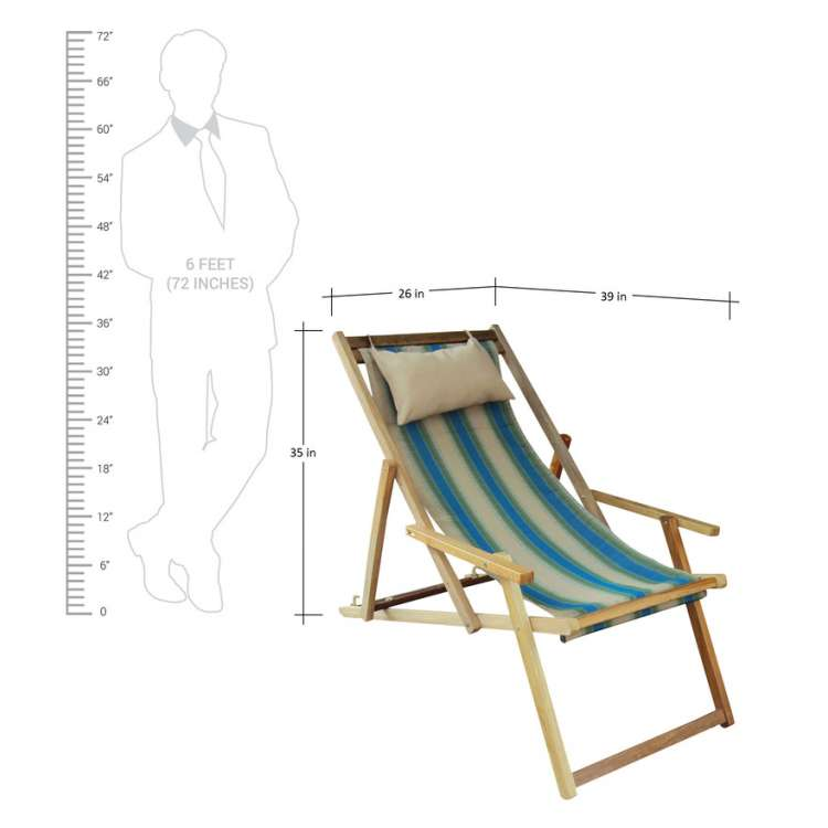 Buy Wooden Lounge Chair Furniture Online In Hyderabad With Arm Rest U0026  Pillow   Summer Stripes ...