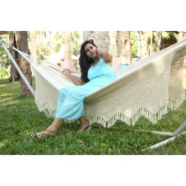 Double Size Natural Fabric Mexican Hammock with Crochet - Buy online