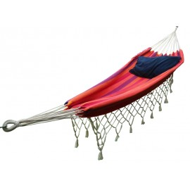 Sunset Striped Brazilian Fabric Hammock With Natural Fringes