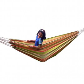 XXL SIZE ECO FRIENDLY COTTON CANVAS HAMMOCK - GARDEN STRIPE