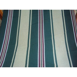 Wooden Deck Chair with Arm Rest & Pillow - Emerald Stripes
