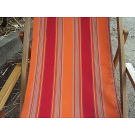 Wooden Deck Chair with Arm Rest & Pillow - Sunrise Stripe