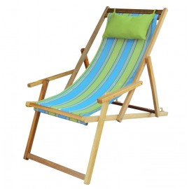 Wooden Deck Easy Chair with Arm Rest & Pillow - Parrot Stripe