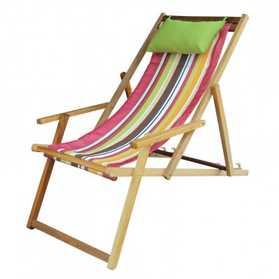 Wooden Deck Chair with Arm Rest & Pillow - Calypso Stripe
