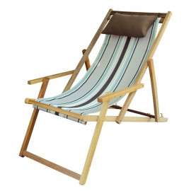 Wooden Deck Chair with Arm Rest & Pillow - Coffee Stripe