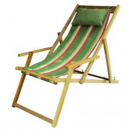 Buy Wooden Lounge Chair Furniture online in Hyderabad with Arm Rest & Pillow - Summer Stripes