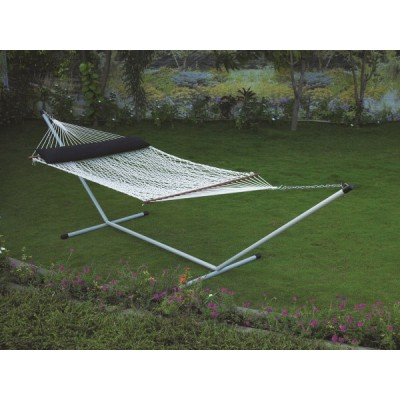 DOUBLE COTTON ROPE HAMMOCK WITH HAMMOCK STAND