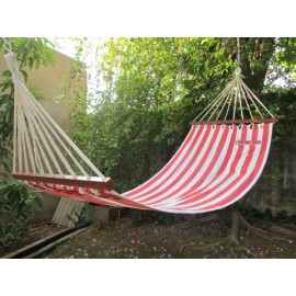 11'FT COTTON FABRIC HAMMOCK - RED STRIPE