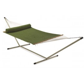 DOUBLE SOFT COMB QUILTED HAMMOCK WITH HAMMOCK STAND & PILLOW