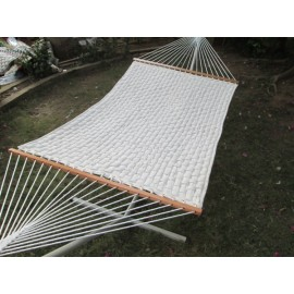 SOFT COMB QUILTED HAMMOCK WITH HAMMOCK STAND & PILLOW - OFF WHITE
