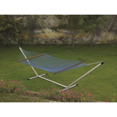 48''W POLYESTER BLUE ROPE HAMMOCK -IN INDIVIDUAL BOX