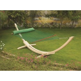 13'FT LARGE POLYESTER GREEN ROPE HAMMOCK - TWO PERSON USE
