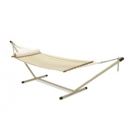 11'FT QUILTED FABRIC HAMMOCK - TAN STRIPE