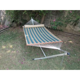 DOUBLE QUILTED HAMMOCK WITH HAMMOCK STAND & PILLOW