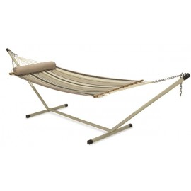 11'FT QUILTED FABRIC HAMMOCK - COFFEE STRIPE