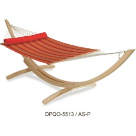 Double Person Soft Comb Hammock on Wooden Stand with Stand and Head pillow (Red Stripes)