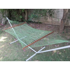 13'FT LARGE POLYESTER GREEN ROPE HAMMOCK - IN INDIVIDUAL BOX