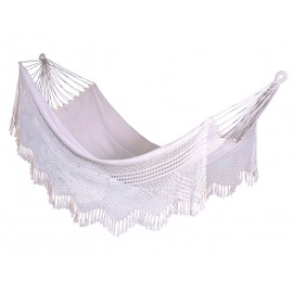 Natural South American Canvas Hammock with Crochet - Single Person