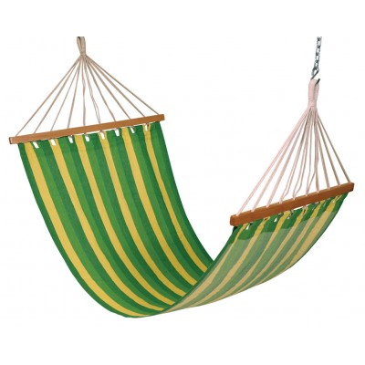 11'FT COTTON FABRIC HAMMOCK - GREEN STRIPE