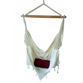 Buy Fabric Garden Hammock chair swing with Hand made Crochet online in India