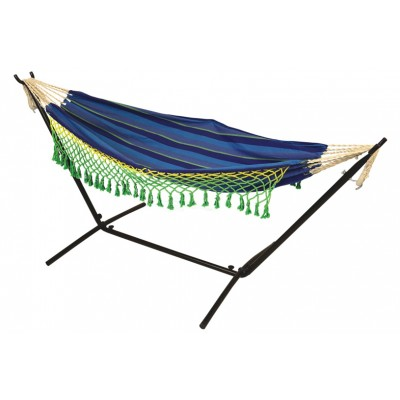 Double Canvas Hammock with 9ft Steel Hammock stand - Ocean Blue