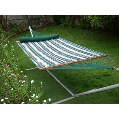 13'FT QUILTED FABRIC HAMMOCK - GREEN STRIPE