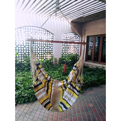 Yellow Black Stripes Cotton Swing with Wooden Spreader Bar