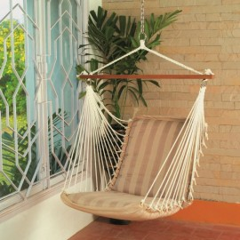 POLYESTER HAMMOCK HANGING SWING CHAIR - TAN STRIPE