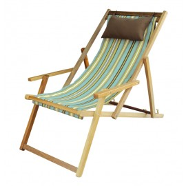 Buy Wooden Deck Garden Chair Furniture online in Pune with Arm Rest & Pillow - Evanwood Stripe