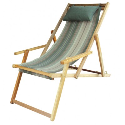 Buy Wooden Lounge Chair Furniture online in Mumbai with Arm Rest & Pillow - Garden Stripe