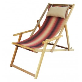 Buy Wooden Deck Garden Chair Furniture online in Chennai with Arm Rest & Pillow - Forest Stripe