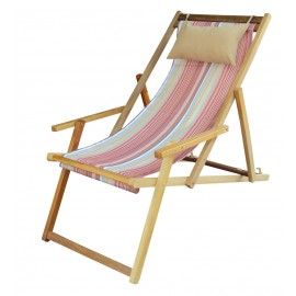 Buy Wooden Deck Easy Chair Online in Chennai with Arm Rest & Pillow - Tango Stripe