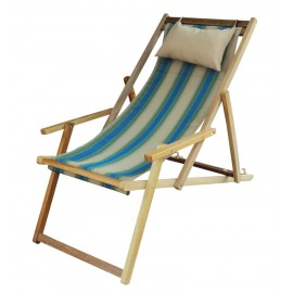 Buy Wooden Deck Garden Chair Furniture online in India with Arm Rest & Pillow - Forest Stripe