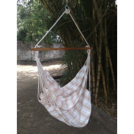 Peach Striped Canvas Swing with Wooden Spreader Bar