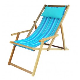 Buy Wooden Lounge Chair Furniture online in India with Arm Rest & Pillow - Artic Stripe