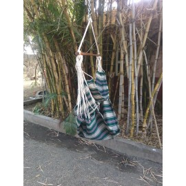 Emerald Stripes Canvas Swing with Wooden Spreader Bar